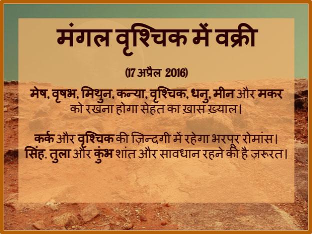 Mangal ka Vrishchik mein vakri aaj. Jaaniye kya hoga aapki rashi par eska prabhav.