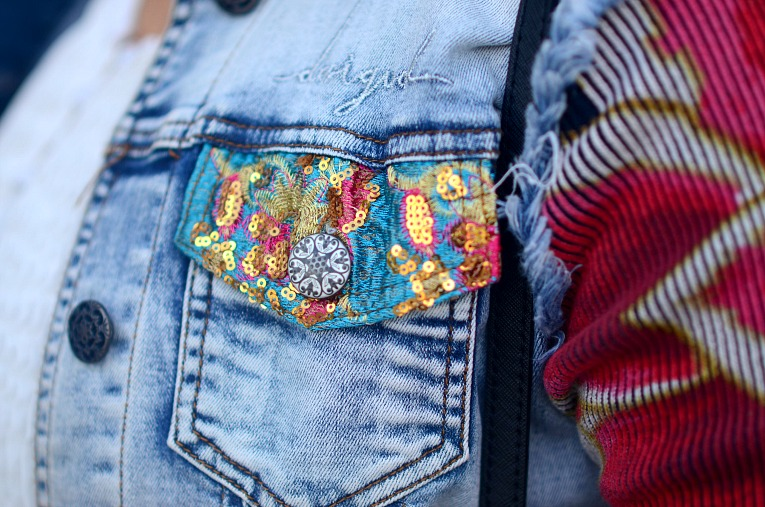 Desigual Denim Floral sleeved jacket