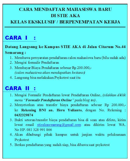 Info STIE AKA Semarang, Kuliah sambil Kerja