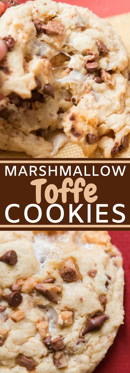 Marshmallow Toffee Cookies #cookies #desserts #baking #recipes #chocolatechips