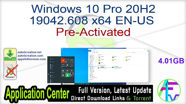 Windows 10 Pro 20H2 19042.608 x64 EN-US Pre-Activated