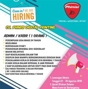 Lowongan Kerja Admin / Kasir di CV Phinisi Digital Printing Makassar