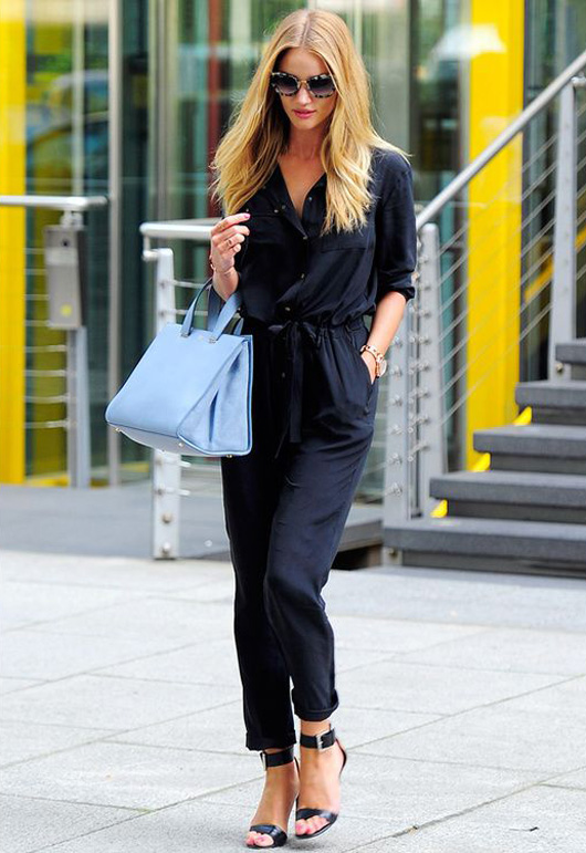Rosie Huntington-Whiteley how to wear jumpsuit trend street style
