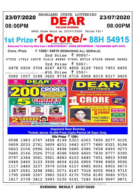 Nagaland State Lottery Sambad 8:00 PM Result 23-07-2020