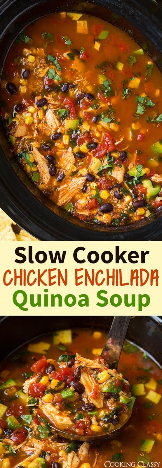 """Slow cooker chicken enchilada quinoa soup makes the perfect comforting meal to warm up with on a cold day. Full of zesty Mexican flavors and an easy """"dump and forget about it"""" kind of meal."""