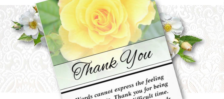 yellow rose vertical words cannot express sympathy thank you card