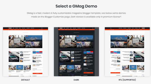 Gmag - Responsive Magazine Blogger Template