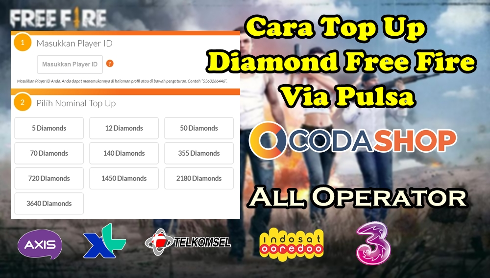 Cara Top Up Diamond Free Fire Di Codashop Via Pulsa 100