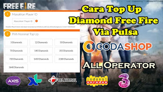 Cara Top Up Diamond Free Fire Di Codashop Via Pulsa 100% Berhasil
