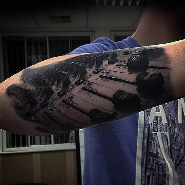 Black Lines Musical Lineup Forearm Tattoo