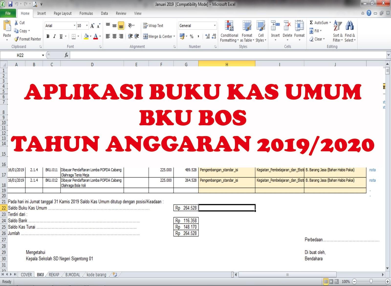 Aplikasi Buku Kas Umum Bku Bos Terbaru Tahun Anggaran 2019