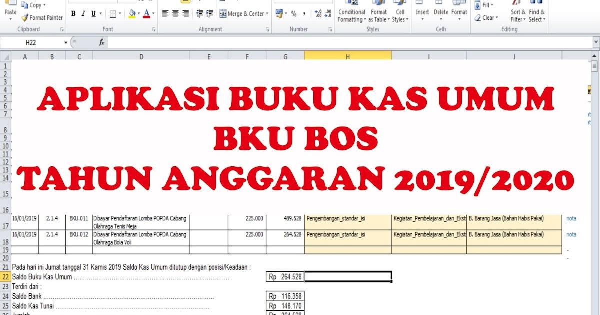 Aplikasi Buku Kas Umum Bku Bos Terbaru Tahun Anggaran 2019 2020 Sang Pencari Ilmu