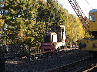 Ruston 48DS Queen Anne being lifted from its section of track.