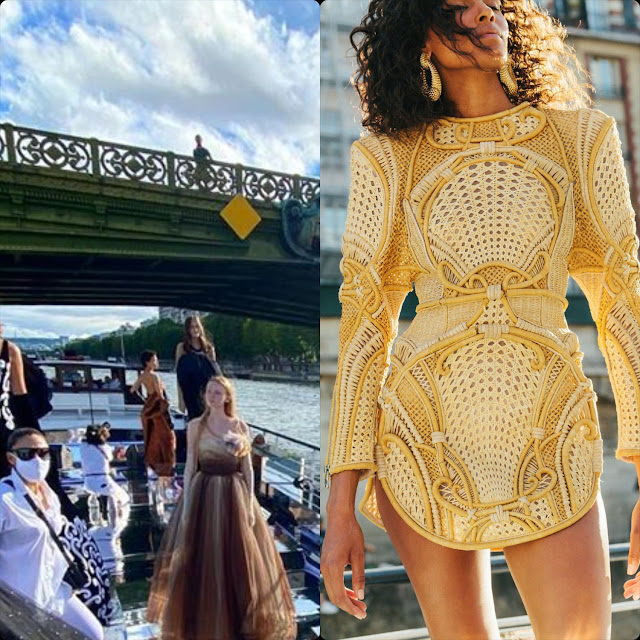 Cindy Bruna for Balmain Couture Fall 2020 or Balmain sur Seine by RUNWAY MAGAZINE