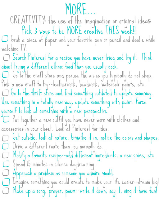 free printable worksheet on how to be more creative