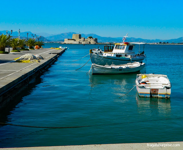 Nafplio, Grécia, fortaleza do Bourtzi
