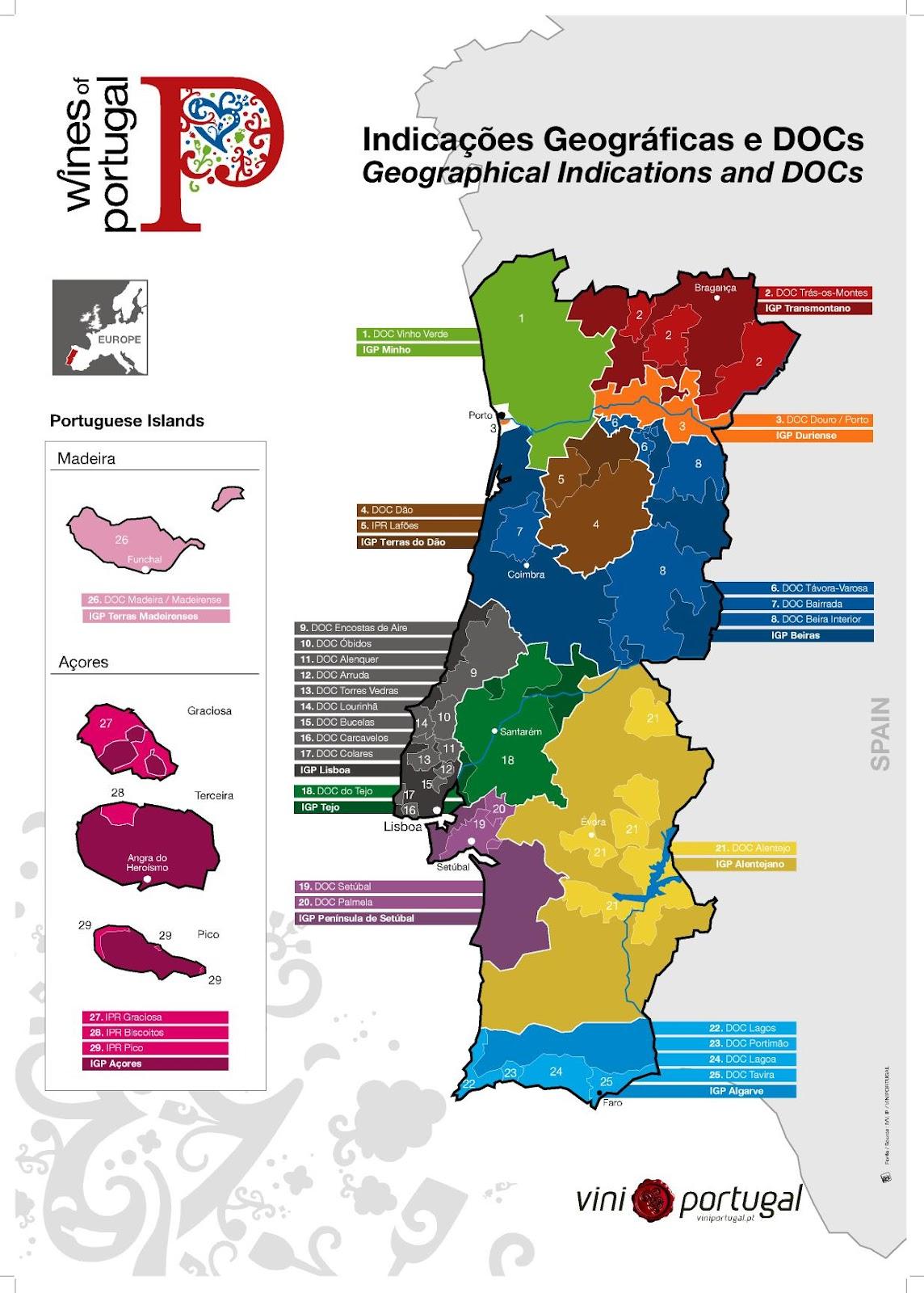 mapa de portugal douro Vinho e Delicias   Sobre vinho: Mapas de Vinhos   Portugal Geral e  mapa de portugal douro