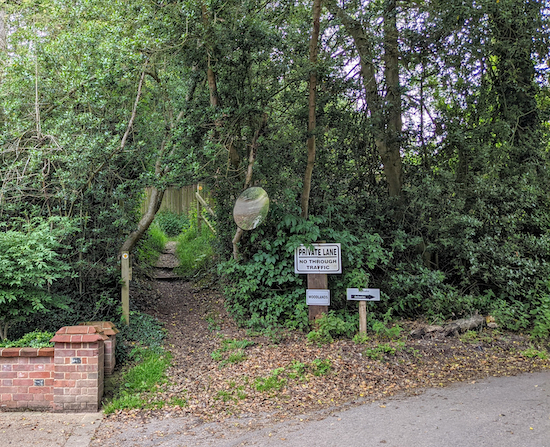 The footpath at the end of Noake Mill Lane
