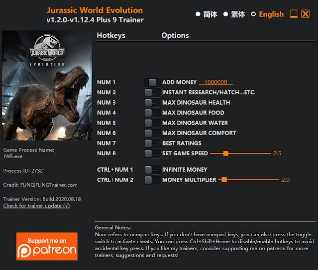 Tampilan Menu Trainer Jurassic World Evolution PC