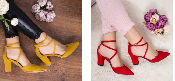 Pantofi rosii,galbeni cu toc gros de zi eleganti