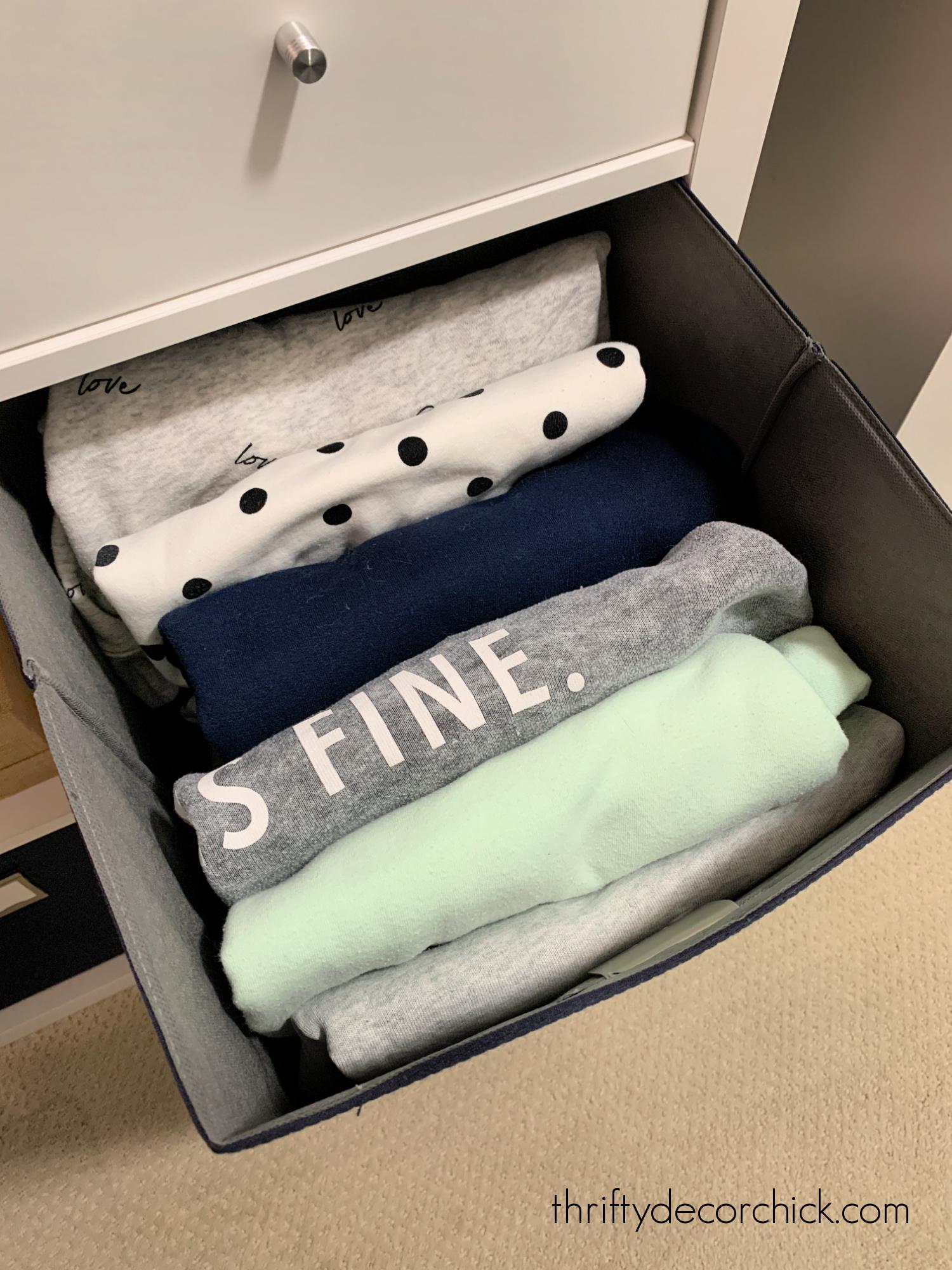 storing bulky sweatshirts in bins