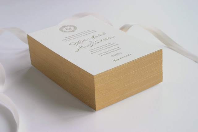 Letterpress wedding invitation gold painted edge