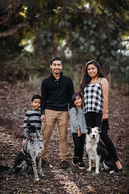 Family with dogs portrait. Family Holiday photos with Morning Owl Fine Art Photography San Diego CA.