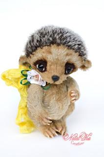 Artist teddy hedgehog, artist bear, teddy, handmade teddy, ooak teddy, Künstler Igel, Teddy Igel, mohair, teddies with charm, NatalKa Creations