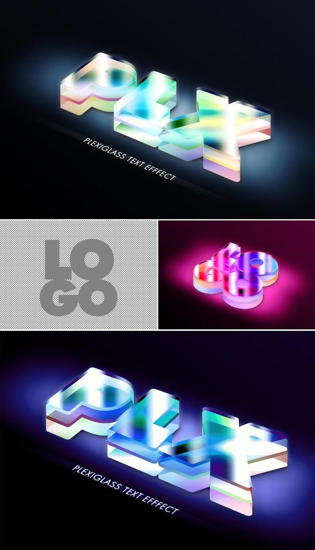 Semi Transparent Plexiglass Text Effect Mockup 383360961