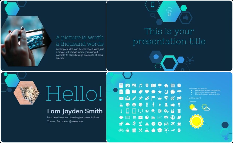 Blue themed presentation template