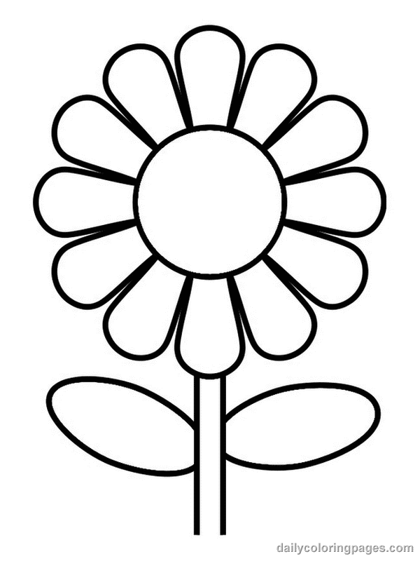 outline pictures flowers coloring pages for kids | Coloring Pages Worksheets: Simple Flower Coloring Pages for Kids