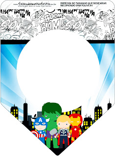 Avengers Chibi Style, Free Printable Banner.