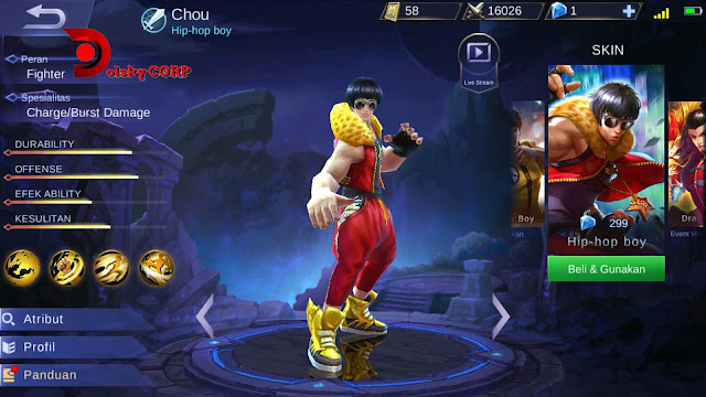 Mobile Legends : Hero Chou ( Hip-Hop Boy ) Semi Tank Builds Set up Gear
