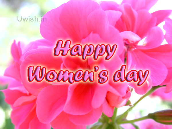 Happy Women's Day with pink flowers.