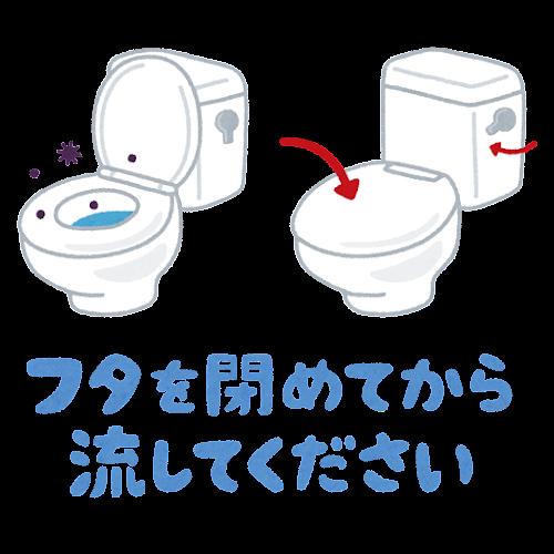 「フタを締めてから流して下さい」のイラスト(トイレ)