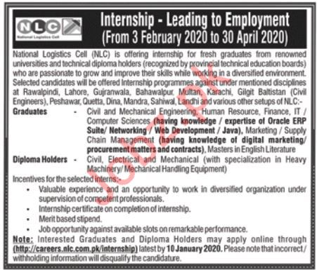 Jobs in National Logistic Cell NLC Latest Advertisement 2020