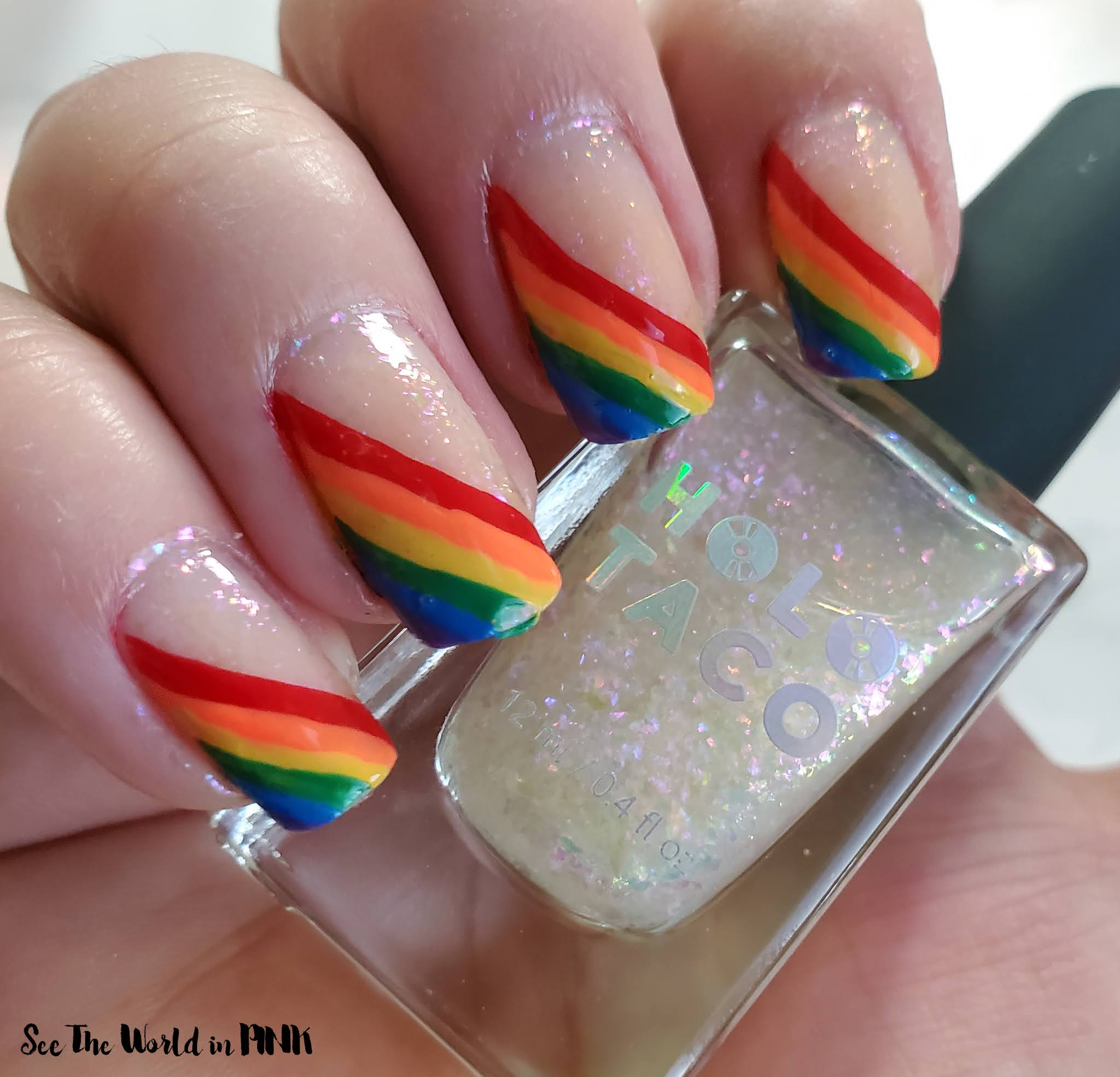 Manicure Monday - Pride Rainbow and Holographic Nails
