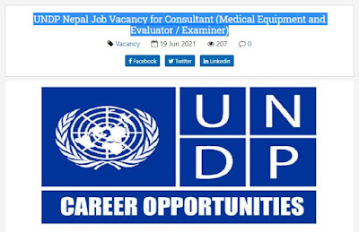UNDP Nepal Job Vacancy for Consultant (Medical Equipment and Evaluator / Examiner)