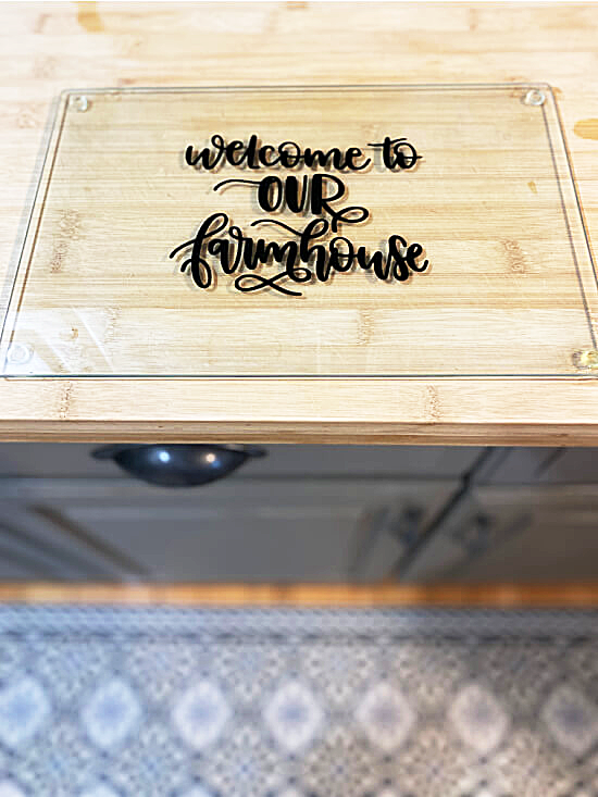 glass cutting board on the counter