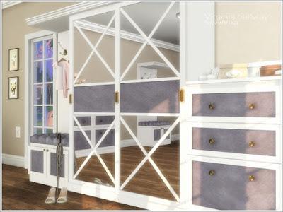Virginia hallway Вирджиния прихожая для The Sims 4 Набор мебели и декора для оформления прихожей. Но вы можете использовать его для украшения спальни. Основной цвет мебели - белый, 3 цвета декоративных вставок В набор входит 8 предметов: - шкаф с зеркальными дверями - секционная вешалка - большой комод - узкий комод - настольная лампа - зеркало - одежда - картина Автор:Severinka_