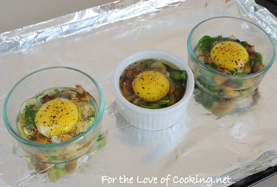 Baked Eggs with Caramelized Mushrooms, Onions, and Spinach