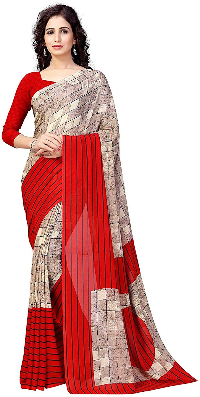 Winza Designer Georgette with Blouse Piece Saree (G-28- Red_Free)