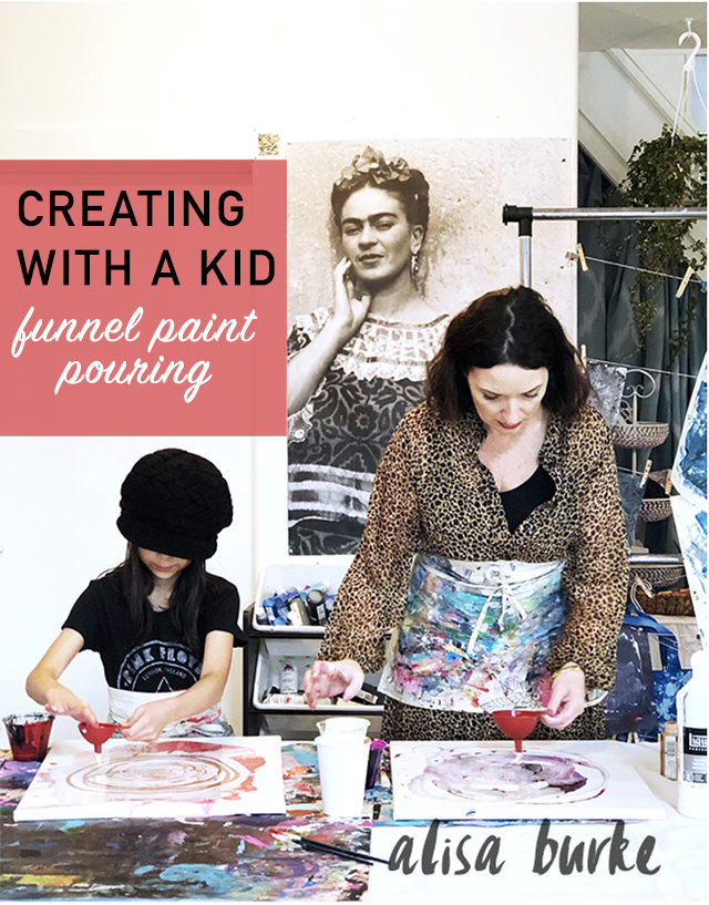 creating with a kid- funnel paint pouring