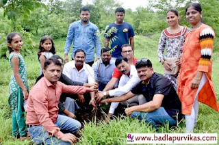 Badlapur (Badlapur Development Media) - The On 11th August, plantation activities were conducted at the tourist center of Badlapur village. The event was organized in conjunction with the Jeevan Aadhar Foundation and Rescue Force team, a social organization in Badlapur. The function was attended by the office bearers of Jeevan Aadhar Foundation, Chief Guest of the program along with Shiv Sena corporator Shailesh Kesenirath Vadnere, Achievers Academy, Taiz Kitchen, Mrinal Enterprises, All India Human Rights office bearers; Mhaskar, Badlapur Mahila City Head Anjali Narkar, Badlapur Contact ila major Renuka J., a social worker in Badlapur Harshad bhopi, social activist Akshay Chavan, Appasaheb Jadhav and area residents, especially senior citizens were present in large quantities. Talking to Badlapur Development Representative, President of Jeevan Aadhaar Foundation informed that all the trees have been successful in planting different kinds of trees at Badlapur village tourist center. Shailesh Vadnere, the chief guest on the benefits of planting the tree, guided the attendees. He also gave basil saplings to Raigad District President Pramod Mhatre and wished him and all the citizens a happy future for social activities.