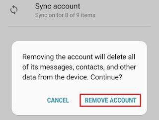 delete google account android