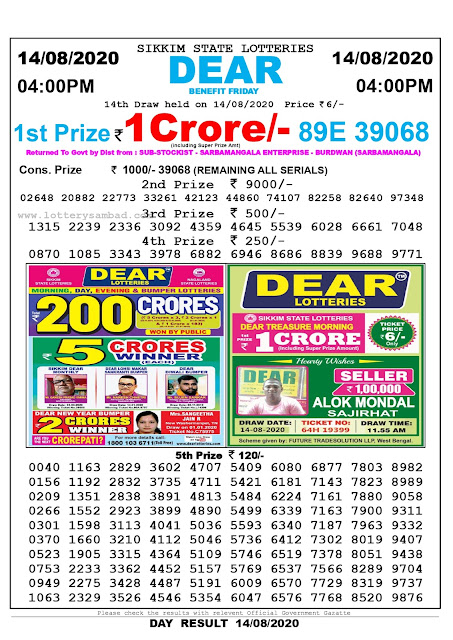 Lottery Sambad Result 14.08.2020 Dear Benefit Friday 4:00 pm
