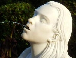 Marble water fountain of Rebecca at Eden Project, Cornwall