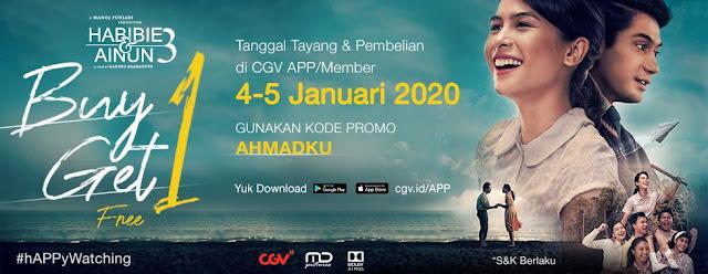 #CGV - #Promo Beli 1 Gratis 1 Tiket Film Habibie Ainun 3 (s.d 05 Jan 2020)