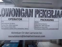 Info Loker Terbaru Karawang Via Email PT. Beta Pharmacon