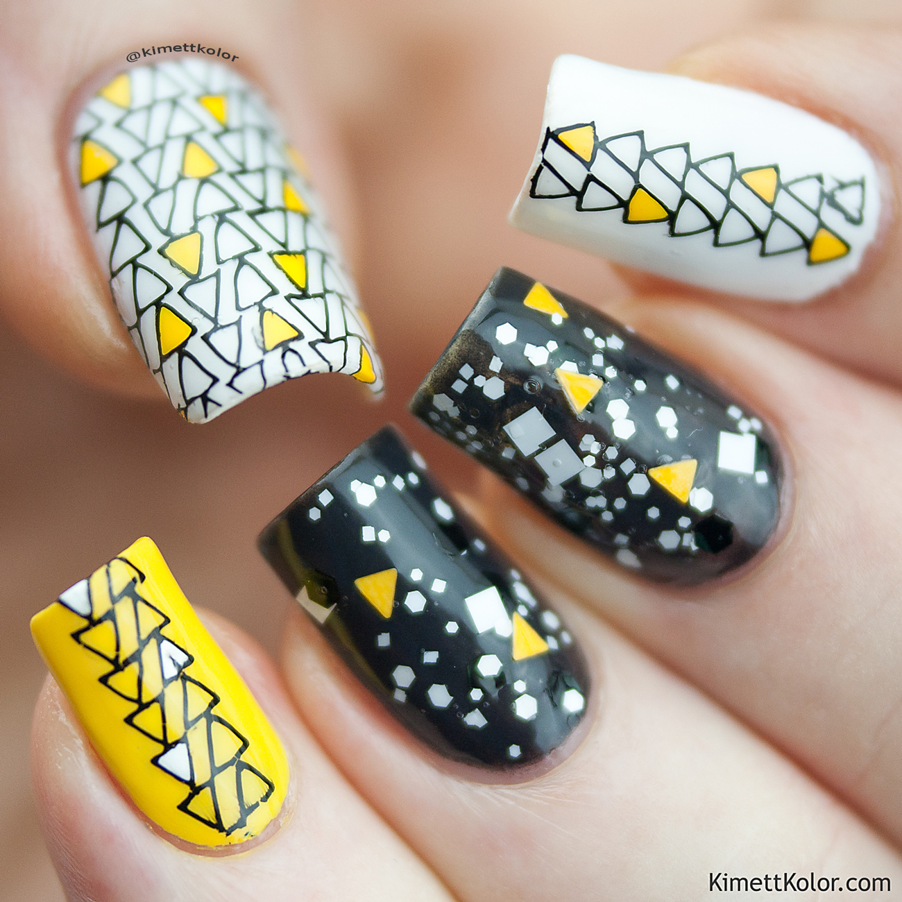 Kimett Kolor Black White Yellow Triangle Stamping Nail Art